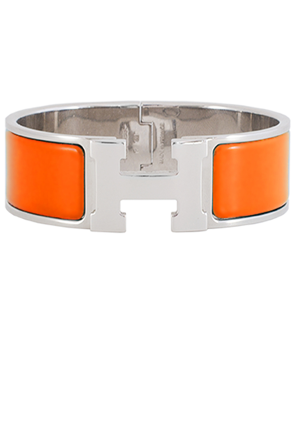 Hermes - Wide Clic H Bracelet (Orange/Palladium Plated) - PM