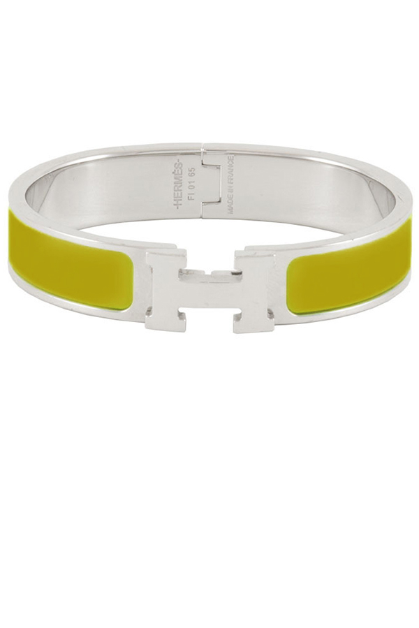 Hermes - Narrow Clic H Bracelet  Chartreuse Palladium Plated    PM View 1