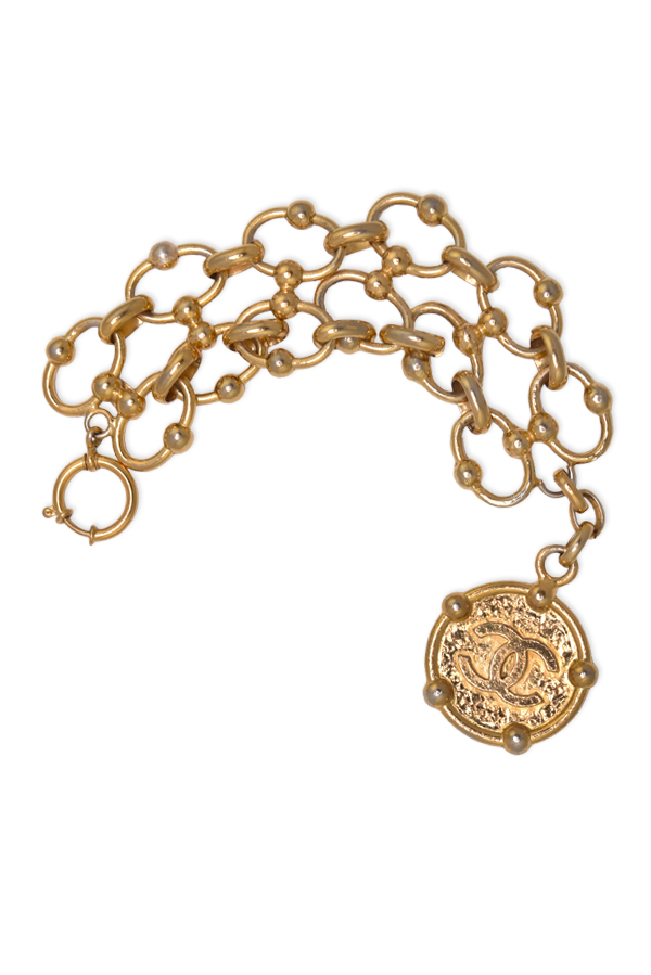 Chanel - Large Circle Chain CC Logo Textured Bracelet View 1