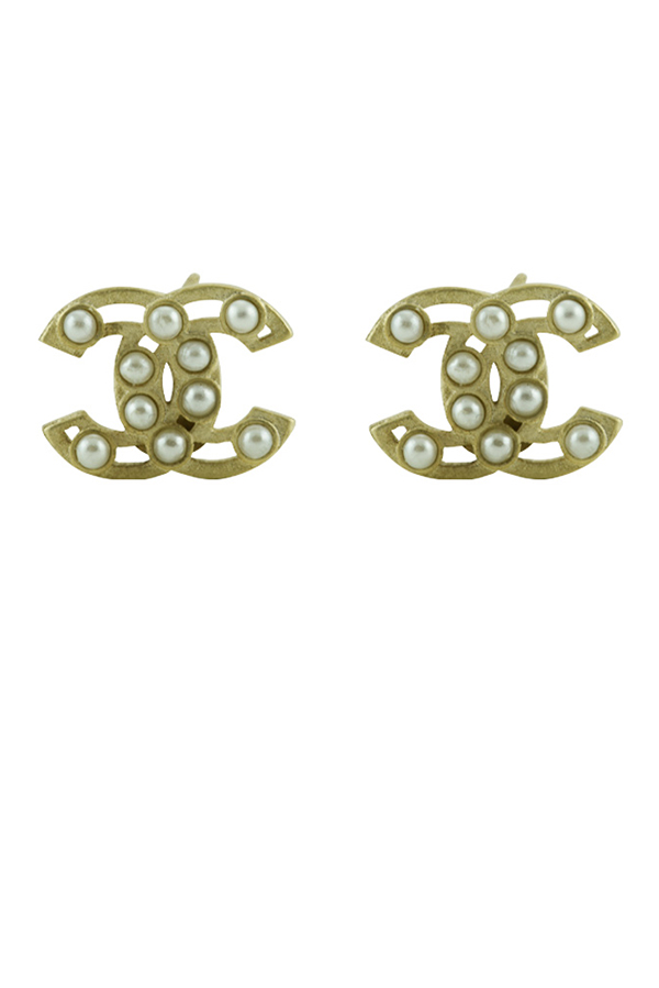 Chanel - CC Stud Gold Pearl Earrings