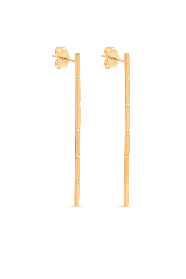 Switch - Simple Diamond Long Bar Earrings (18k Yellow Gold)