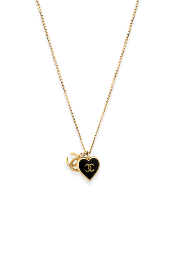Chanel - Enamel Heart And Logo Pendant Necklace