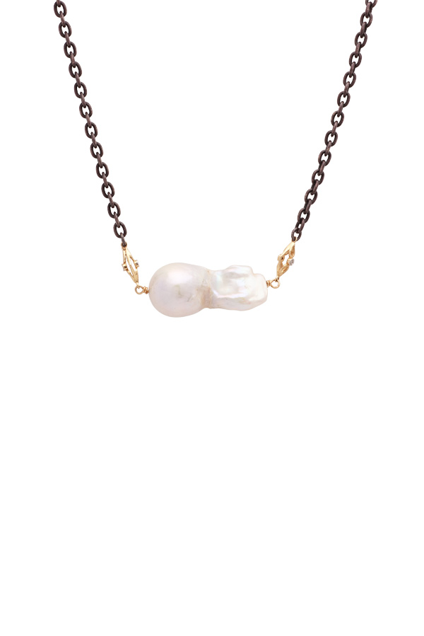 Chains and Pearls - Baroque Pearl Chain Necklace