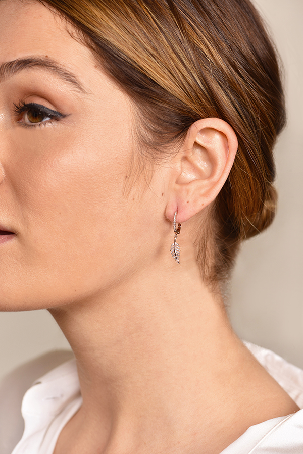 Do Not Disturb - The Amsterdam Drop Earrings (14k Rose Gold and Diamonds)