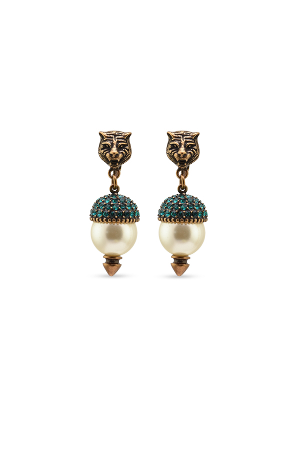 Gucci - Feline Earrings With Green Crystals - White