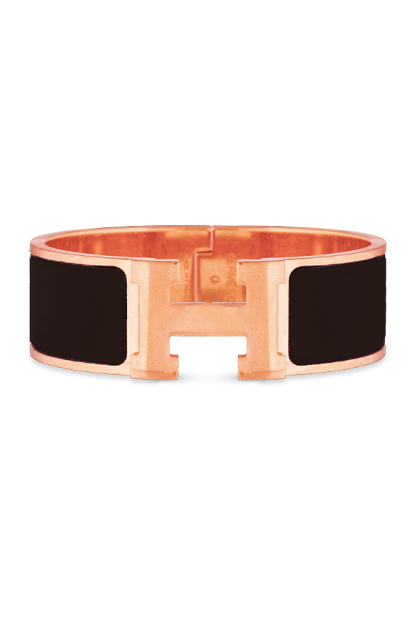 Hermes - Wide Clic H Bracelet (Black/Rose Gold Plated) - PM