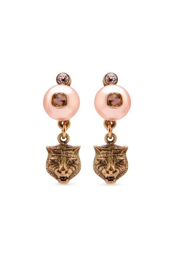 Gucci - Feline Earrings With Faux Pearls  View 1