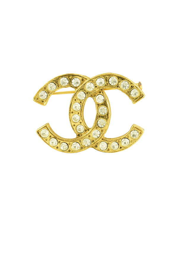 Chanel - Crystal CC Logo Brooch