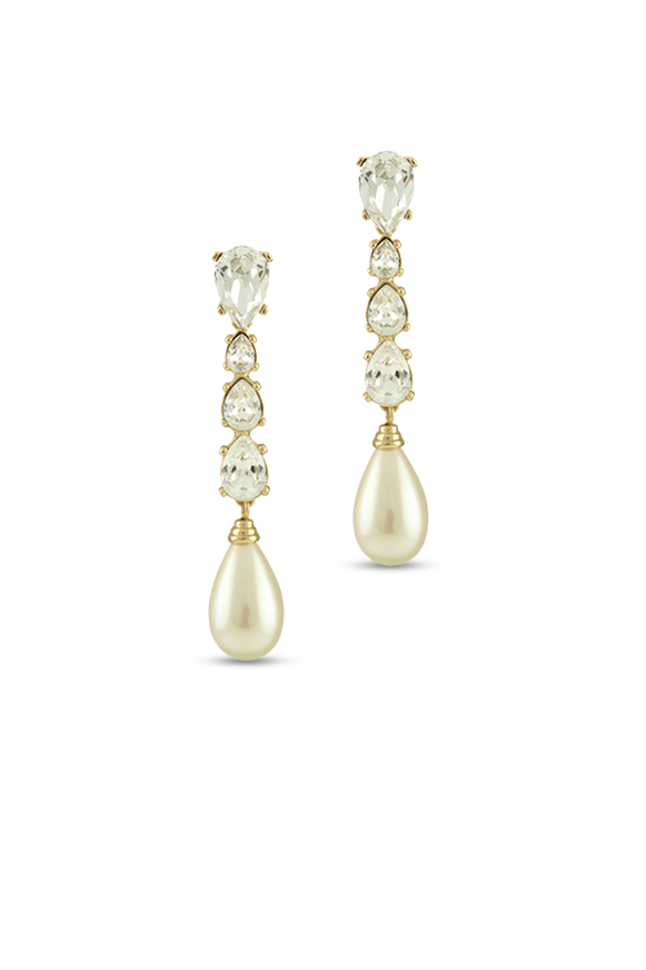 Christian Dior - Vintage Rhinestone Embellished Faux Pearl Drop Earrings View 1