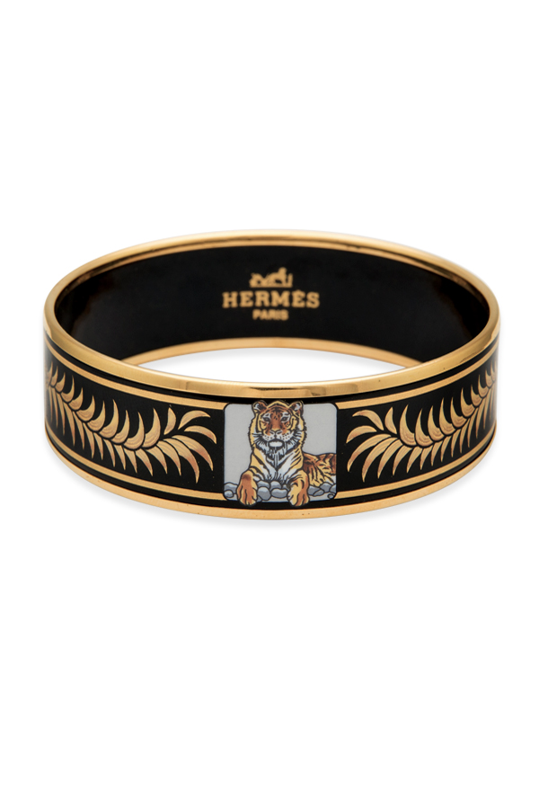 Hermes - Wide Black Enamel Bangle (Le Tigre Royal) - 65