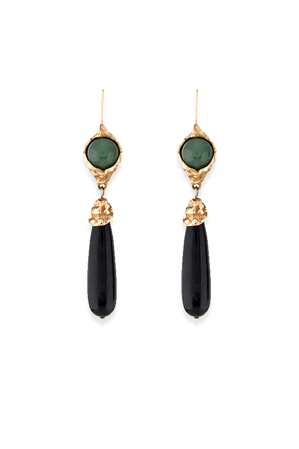 Yves Saint Laurent - Green Aventurine Quartz And Black Glass Drop Earrings