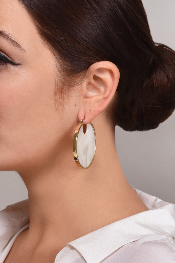 Studio Elke - Eclipse Hoop Earrings (Pearl)