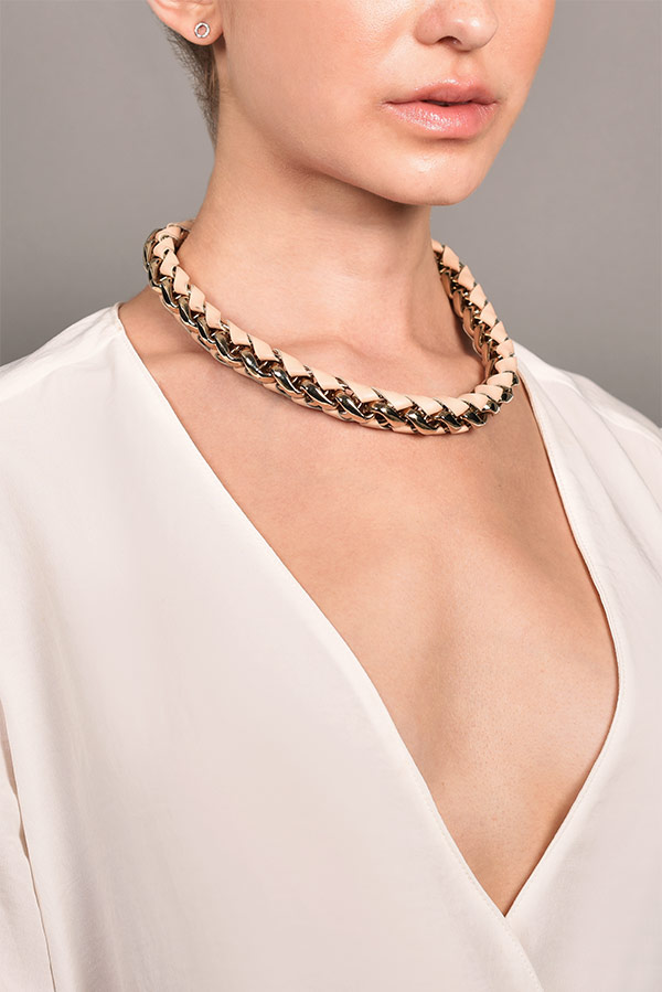 Chloe - Leather Woven Chain-Link Necklace
