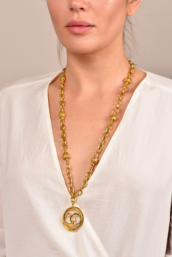Chanel - Vintage Hammered CC Logo And Station Necklace