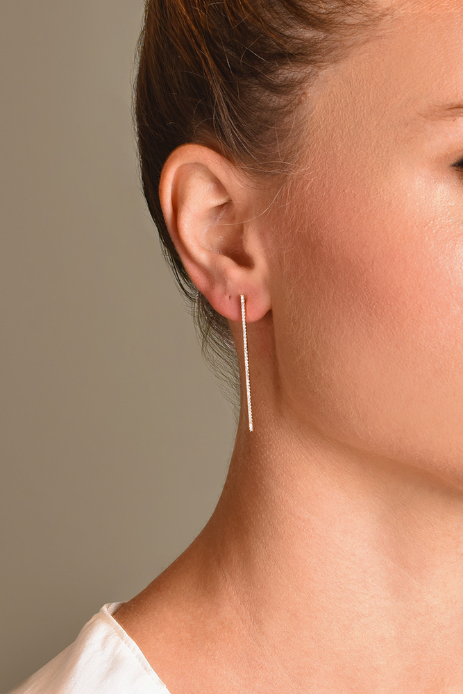 Switch - Diamond Long Bar Earrings (18k Rose Gold)