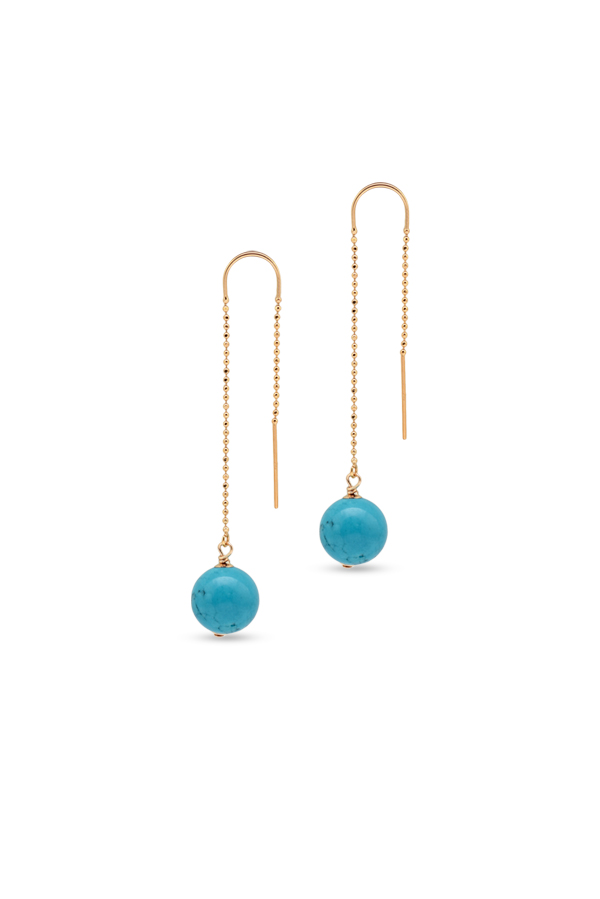 Chains and Pearls - 14k Yellow Gold and Turquoise Dangle Earrings