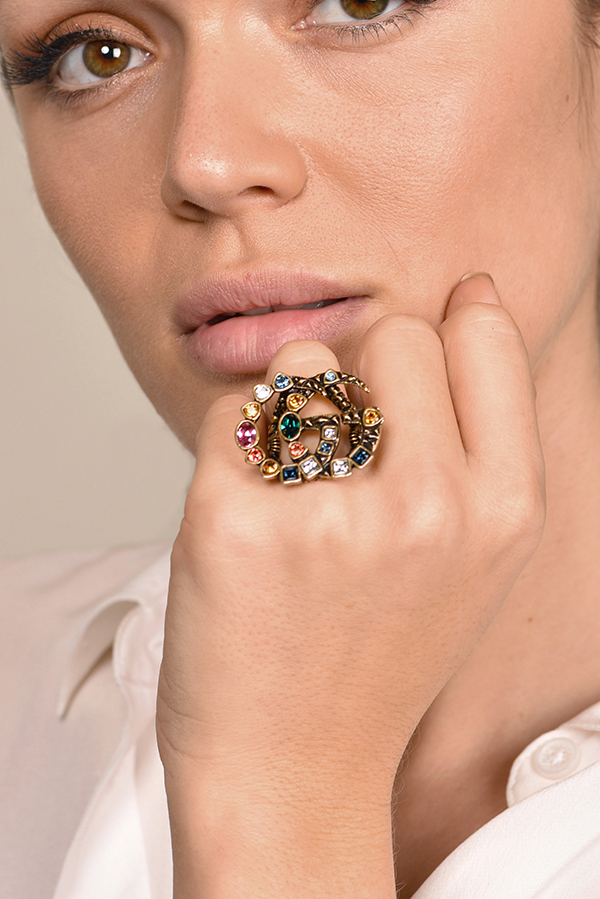 Gucci - Crystal Double G Ring - Size 6.5