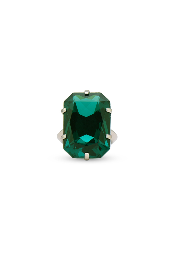 Balenciaga - Emerald Crystal Cocktail Ring - Size 8