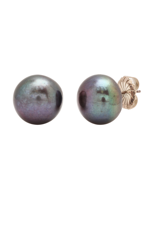 Chains and Pearls - Black Pearl Stud Earrings