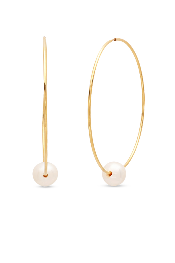 Chains and Pearls - Pearl Hoop Earrings (14k Yellow Gold)