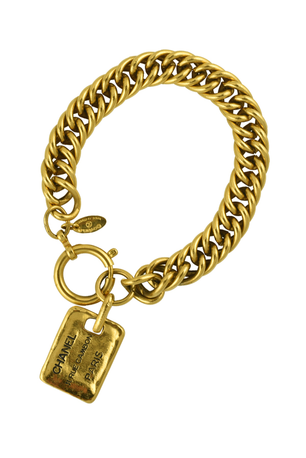 Chanel - Rectangle Plate Charm Chain Bracelet
