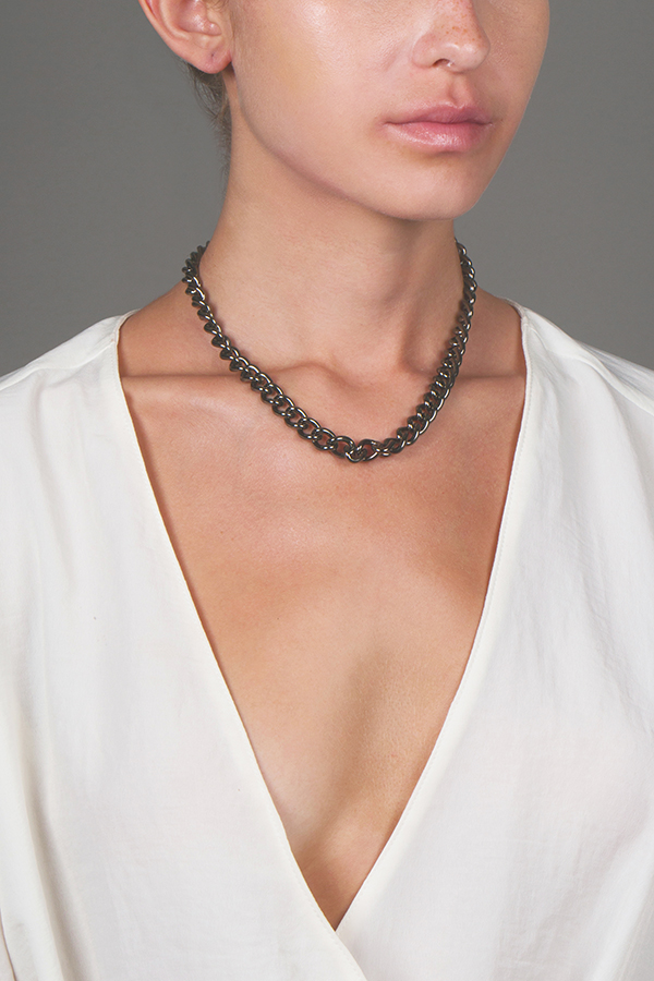 Yves Saint Laurent - 258515693_Switch Jewelry Yves Saint Laurent Grey Curb Chain Necklace jpg