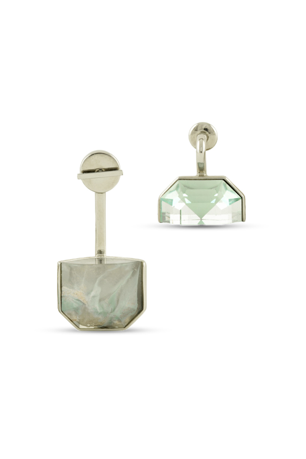 Christian Dior - Set Earrings (Blue and Grey Marble)