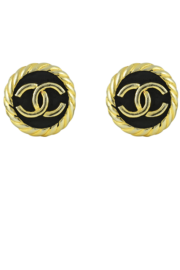 Chanel - Vintage Black and Gold Clip Ons