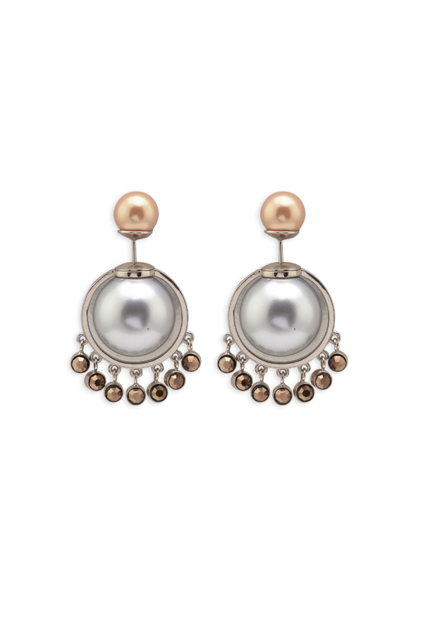 Christian Dior - Faux Pearl and Beaded Tribale Earrings