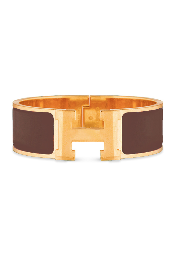 Hermes - Wide Clic H Bracelet (Brown/Yellow Gold Plated) - PM