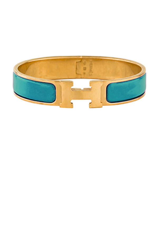 Hermes - Narrow Clic H Bracelet (Dark Teal/Yellow Gold Plated) - PM