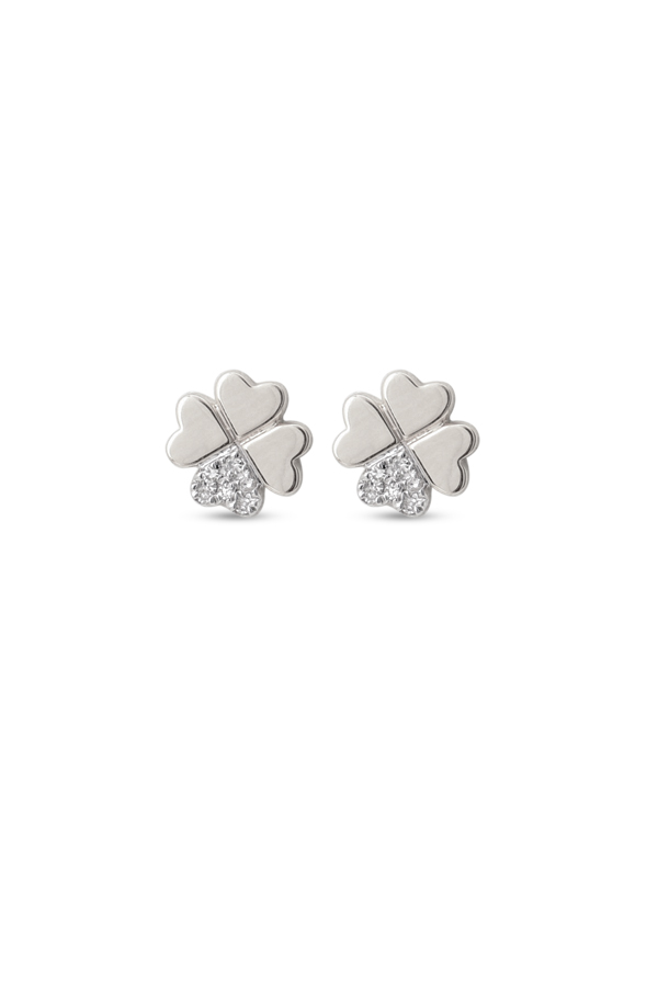 Yu  - Clover Stud Earrings (White Gold and Diamonds)