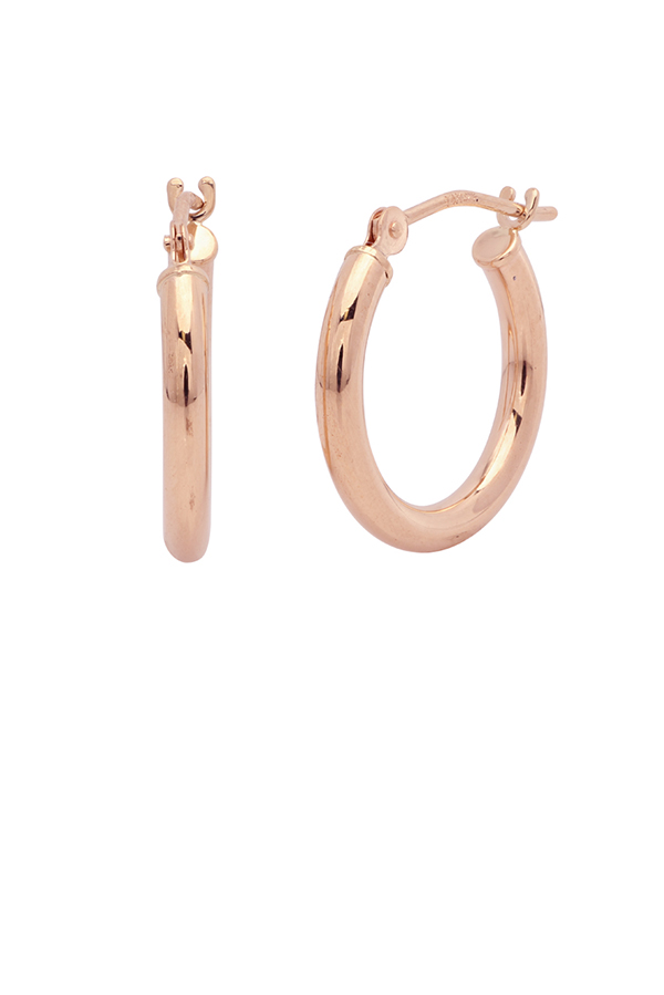 Yu  - Small Huggie Tube Hoop Earrings (14k Rose Gold)