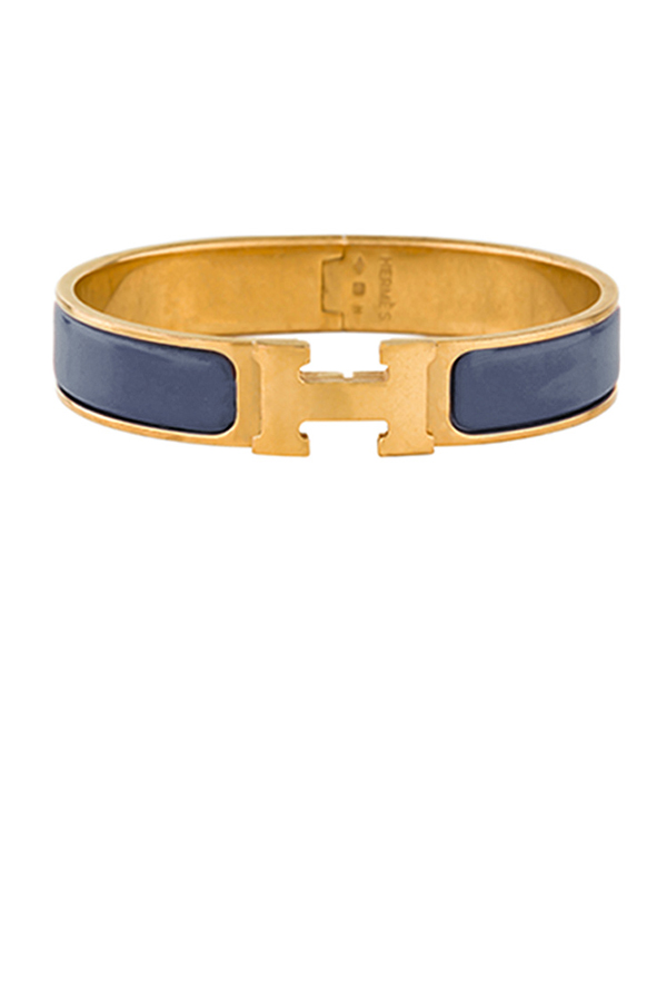 Hermes - Narrow Clic H Bracelet (Blue-Gray/Yellow Gold Plated) - GM