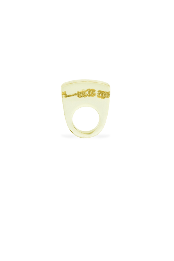 Chanel - Clear Lucite Rectangle Signet Ring - Size 7