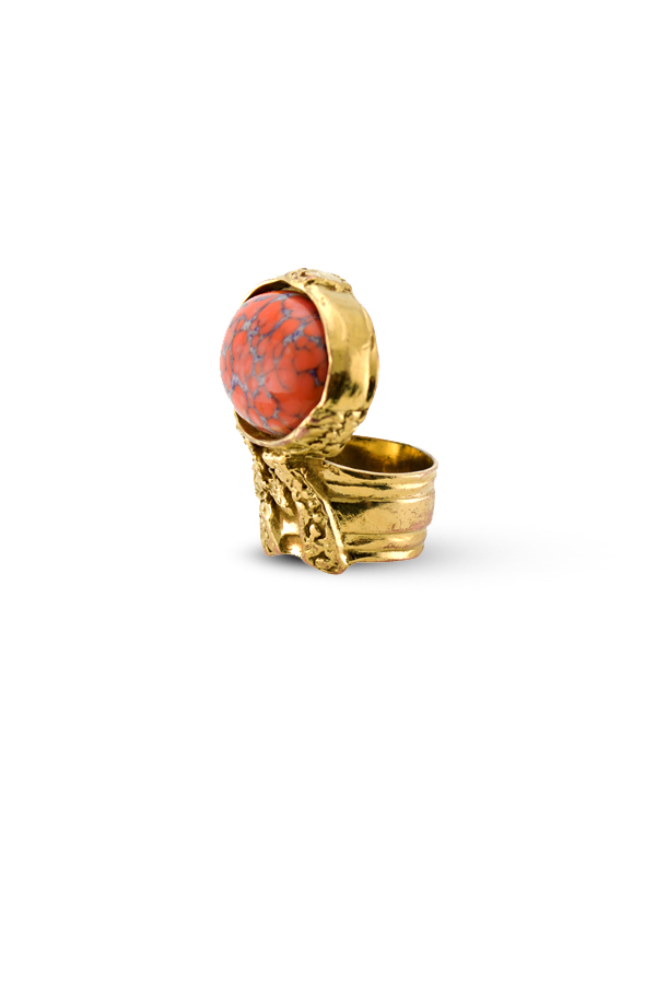 Yves Saint Laurent - Arty Oval Ring (Orange) - Size 7