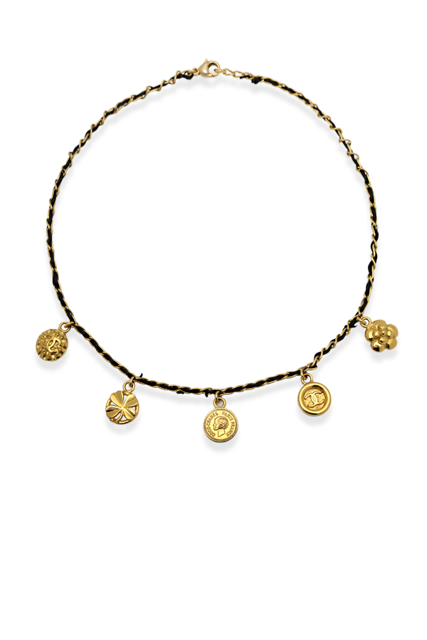 Chanel - Vintage Gold Tone Metal And Black Cord Charm Choker Necklace