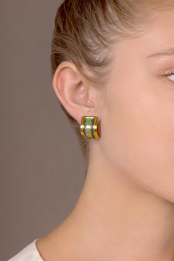 Hermes - Enamel Earrings (Blue/Green)