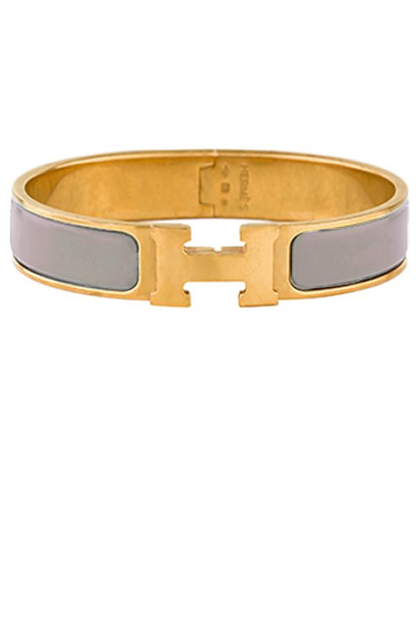 Hermes - Narrow Clic H Bracelet (Taupe/Yellow Gold Plated) - PM
