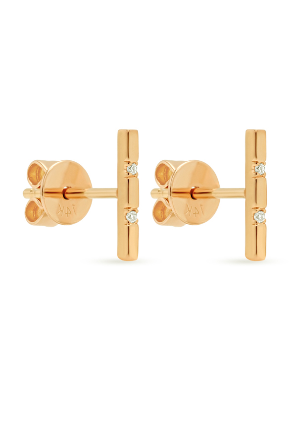 Switch - Simple Diamond Short Bar Studs  18k Yellow Gold  View 2