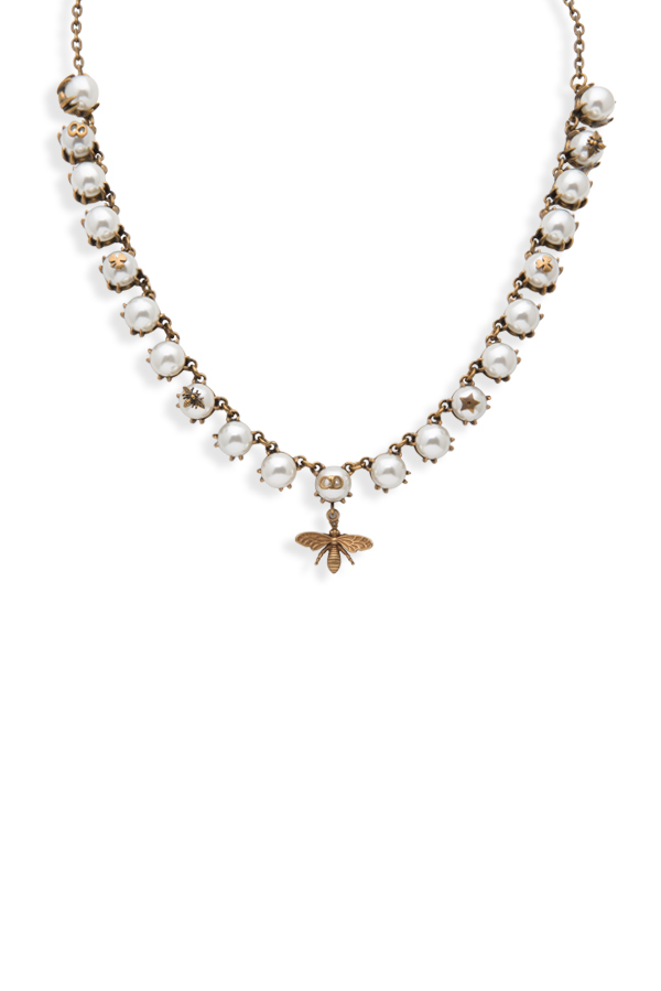Christian Dior - Faux Pearl Brass Bumble Bee Collar Necklace