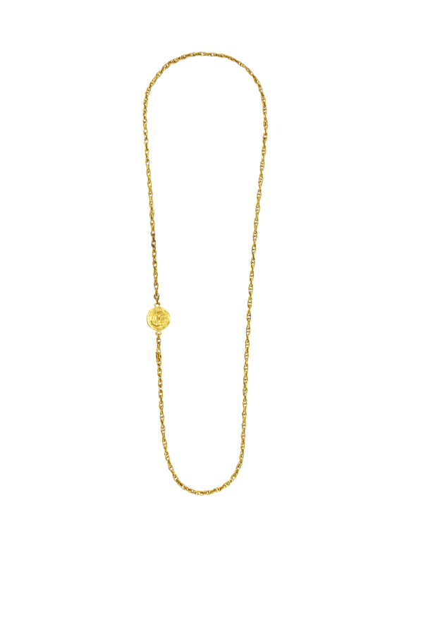 Chanel - Vintage Long Necklace With Hammered CC Coin Pendant