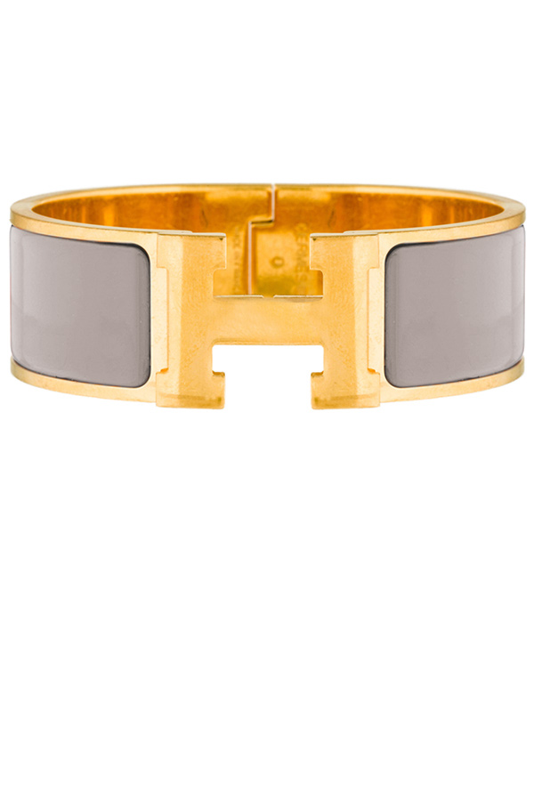 Hermes - Wide Clic H Bracelet (Light Gray/Yellow Gold Plated) - PM