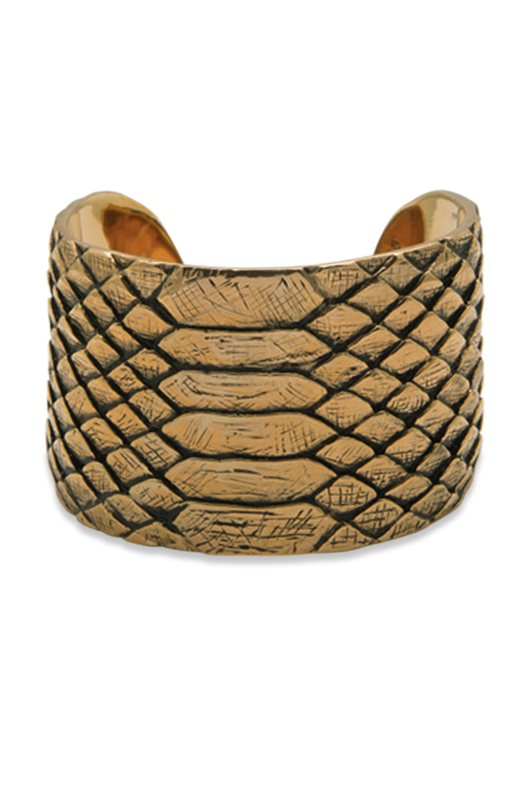 Yves Saint Laurent - Snakeskin Textured Statement Cuff