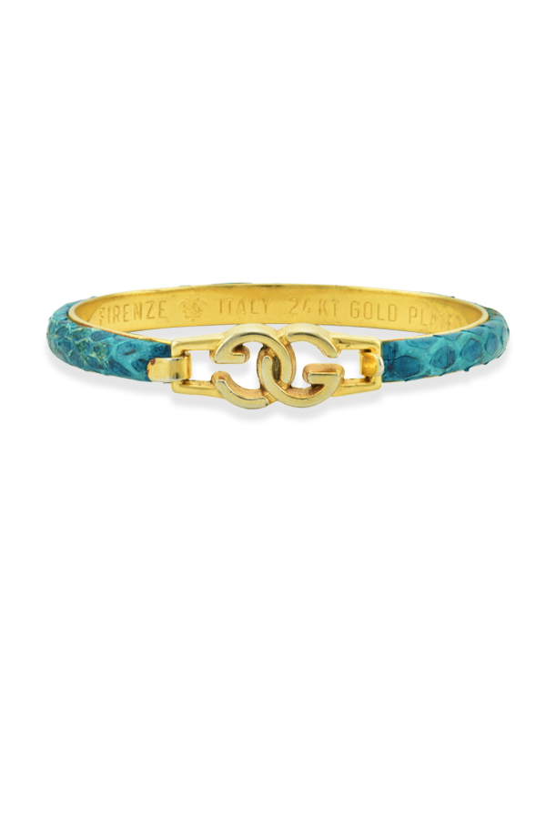 Gucci - 330989385_Switch Jewelry Gucci Croc Dark Teal and Yellow Gold Bangle Bracelet jpg