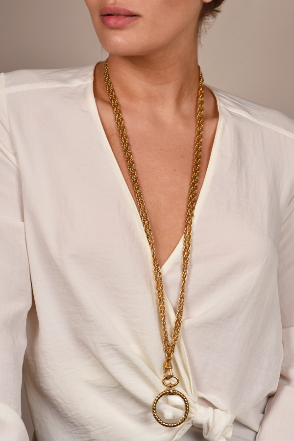 Chanel - Vintage CC Logos Gold Chain Loupe Pendant Necklace