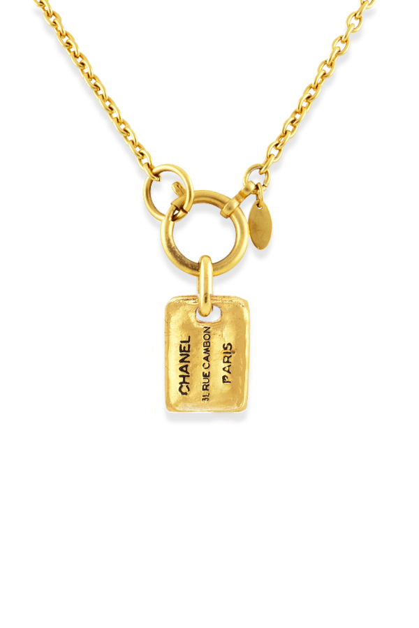 Chanel - Vintage Rectangle Plate Charm Short Chain Necklace