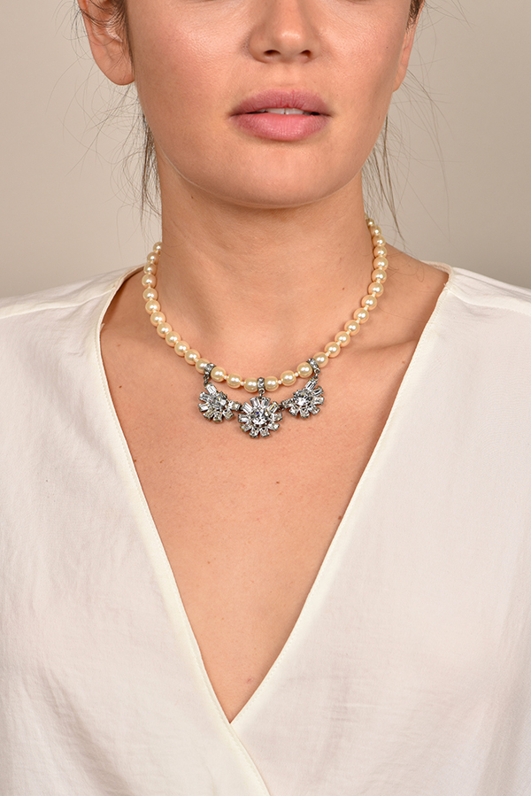 Ben-Amun - Pearl Necklace with Crystal Accents