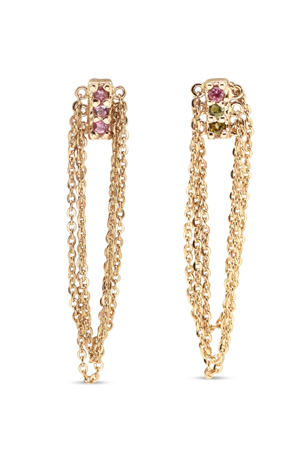 Marie Laure Chamorel - Gold Crystal Fringe Chain Earrings