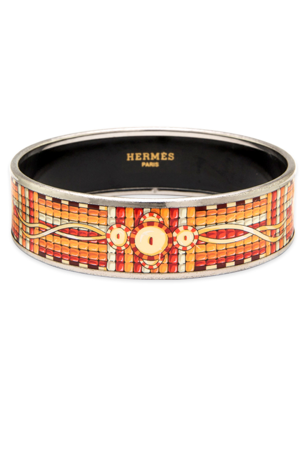 Hermes - Orange and Red Patterned Enamel Bangle